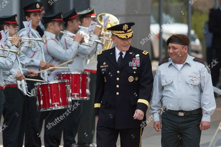 Martin Dempsey, Gadi Eizenkot. Outgoing Joint Chiefs Chairman Gen. Martin Dempsey, left, and Israeli Chief of Staff Lt. Gen. Gadi Eizenkot review an honor guard during a welcoming ceremony in a military base in Tel Aviv, Israel, . The Chairman of the U.S. Joint Chiefs of Staff General Martin E. Dempsey landed on Monday evening in Israel for an official visit