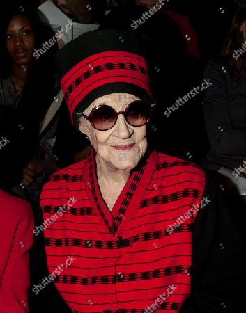 Zelda Kaplan, 95, waits for the Joanna Mastroianni Fall 2012 fashion show to begin, during Fashion Week, in New York. Kaplan was sitting in the front row of designer Mastroianni's show at Lincoln Center when she collapsed, Wednesday. She was later pronounced dead at Roosevelt Hospital. Kaplan was known for her lively nightlife, attending art openings, parties and clubs with people young enough to be her great-grandchildren