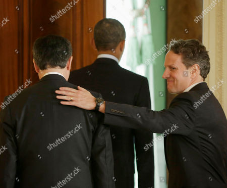 Barack Obama, Jack Lew, Timothy Geithner. Outgoing Treasury Secretary Timothy Geithner, right, pats the back of current Chief of Staff Jack Lew, left, as they walk out with President Barack Obama from the East Room of the White House in Washington, after Obama announced he will nominate Lew to succeed Geithner as treasury secretary