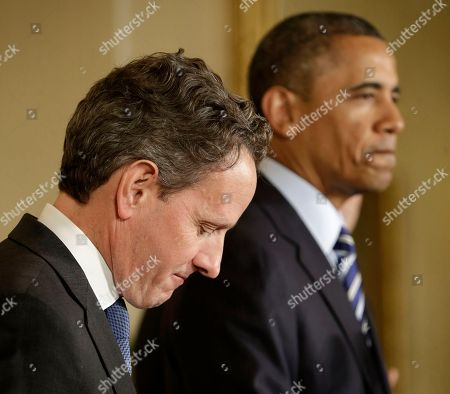 Barack Obama, Jack Lew, Timothy Geithner. Outgoing Treasury Secretary Timothy Geithner listens at left while President Barack Obama pauses during his announcement in the East Room of the White House in Washington, that he will nominate current White House Chief of Staff Jack Lew to succeed Geithner
