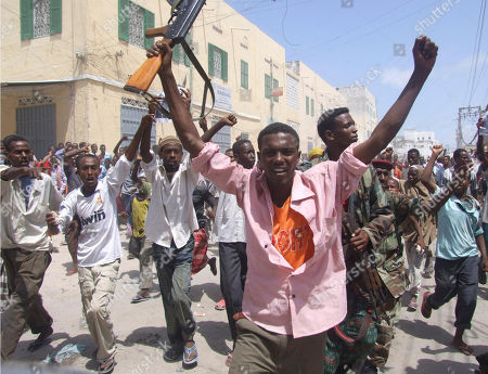 Protesters shout slogans in Mogadishu, Somalia, where they took to the streets for the second day in support of current Prime Minister Mohamed Abdullahi Farmajo. A new accord extending the government's term by a year requires Prime Minister Mohamed Abdullahi Mohamed to resign in a month, but Mohamed is popular with many Somalis because he has managed to pay salaries for government workers and soldiers and attack corruption since he came to power in October last year