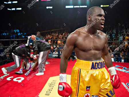 Adonis Stevenson, Thomas Williams Jr. Adonis Stevenson, of Canada, celebrates his victory against Thomas Williams Jr., left, in a WBC light heavyweight title boxing bout, in Quebec City