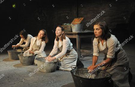 'The House of Special Purpose' - Caroline Martin (Tatiana),  Kate O'Flynn (Anastasia), Lydia Wilson (Maria) and Annabel Scholey (Olga)