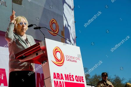 Stock Photo of The famous Catalan actress Rosa Maria Sarda is seen during his speech on the stage.