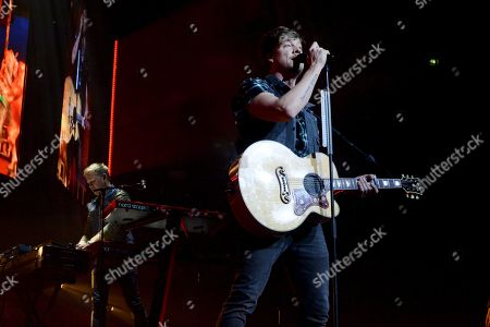 Samu Haber, frontman of the Finnish pop-rock band Sunrise Avenue, performs during the last concert of the band's Heartbreak Century Tour