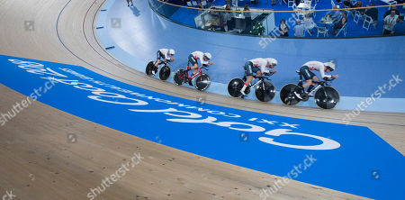 Team England cycling, Mens 400 team pursuit qualifying, England team Kian Emadi, Ethan Hayter, Charlie Tanfield and Oliver Wood