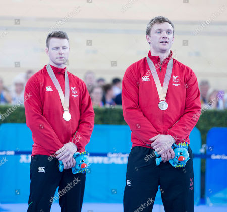 James Ball and Peter Mitchell of Wales at the Commonwealth Games Cycling finals at the Anna Meares Velodrome