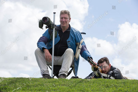 Stock Image of Team Scotland Training session at belmont shooting, Sandy Walker (right) Ian Shaw (left)