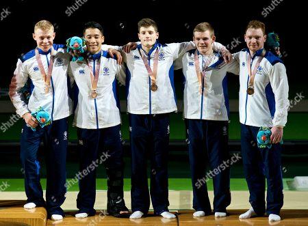 Gymnastics Mens Team Final. L to R Hamish Carter, Kelvin Cham, Frank Baines,  David Weir & Daniel Purvis