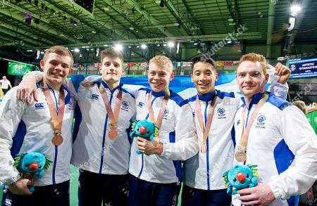 Gymnastics Team Final. L to R David Weir, Frank Baines, Hamish Carter, Kelvin Cham & Daniel Purvis