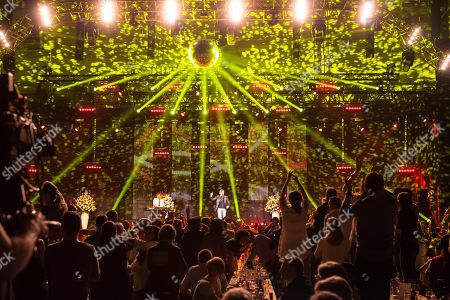 Lighting in the concert hall, the Austrian pop singer Nik P. live at the 16th Schlager Nacht in Lucerne, Switzerland