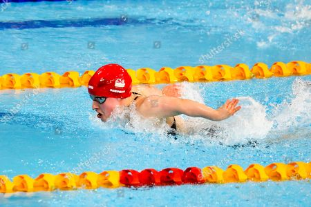Stock Image of Eleanor Robinson (ENG) wins the Women's S7 50m Butterfly Final at the Optus Aquatic Centre
