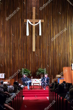 Actor and Film icon Sean Penn presents his novel 'Bob Honey Who Just Do Stuff' in conversation with Douglas Brinkley at Central Presbyterian Church in Austin, Texas.