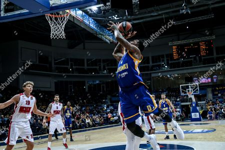 Thomas Robinson, #0 of Moscow Khimki goes up for a shot under the basket against an Armani Milan defender