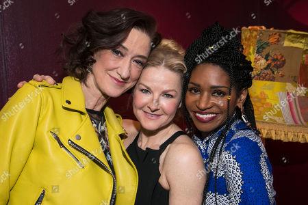 Haydn Gwynne (Lady Wishfort), Sarah Hadland (Foible) and Jenny Jules (Mrs Marwood)