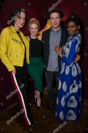 Haydn Gwynne (Lady Wishfort), Sarah Hadland (Foible), Geoffrey Streatfeild (Mirabel) and Jenny Jules (Mrs Marwood)