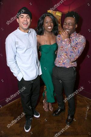 Nathan Welsh (Mirabel's Servant/Wishfort's Footman), Gabrielle Brooks (Mincing) and Fisayo Akinade (Witwoud)