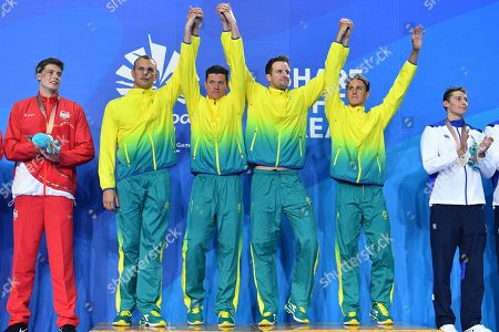 (L-R) Gold medalists Kyle Chalmers, Jack Cartwright, James Magnussen and Cameron McEvoy of Australia during the medal ceremony for the Men's 4x100m Freestyle Relay final on day two of swimming competitions at the XXI Commonwealth Games at Gold Coast Aquatic Centre on the Gold Coast, Australia, 06 April 2018.