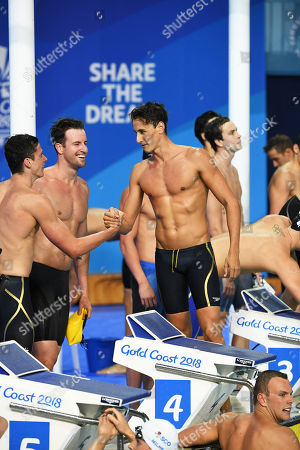 Stock Picture of (L-R) Jack Cartwright, James Magnussen, Kyle Chalmers and Cameron McEvoy of Australia celebrate winning the Men's 4x100m Freestyle Relay final on day two of swimming competition at the XXI Commonwealth Games at Gold Coast Aquatic Centre on the Gold Coast, Australia, 06 April 2018.