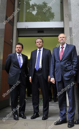 Carl-Henric Svanberg, Bob Dudley, Tony Hayward. Members of the British Petroleum executive, from left, outgoing CEO Tony Hayward, Chairman Carl-Henric Svanberg, and incoming CEO Bob Dudley, pose for the media outside their global headquarters in London, . The company announced that Hayward, BP's much-criticized CEO will be replaced by American Robert Dudley on Oct. 1, as it reported a record quarterly loss and set aside $32.2 billion to cover costs of the devastating Gulf of Mexico oil spill. BP said the decision to replace Hayward, 53, with the company's first ever non-British chief executive was made by mutual agreement