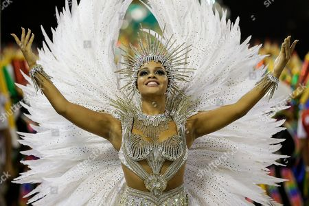 Drum queen Juliana Alves from the Unidos da Tijuca samba school parades during carnival celebrations at the Sambadrome in Rio de Janeiro, Brazil, early . Rio de Janeiro's world-famous samba school parades held their grand finale as the five-day-long Carnival celebration came to an end on Tuesday morning