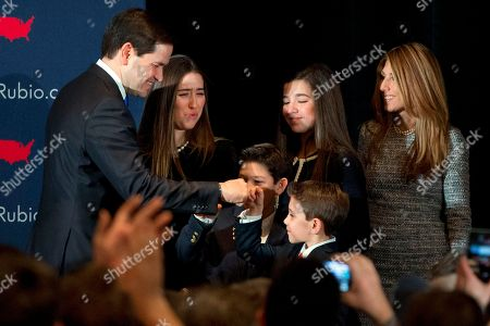 Marco Rubio, Amanda Rubio, Daniella Rubio, Anthony Rubio, Dominick Rubio, Jeanette Dousdebes. Republican presidential candidate Sen. Marco Rubio, R-Fla., fist bumps his son Dominick Rubio, 8, after speaking at his primary night rally at the Radisson Hotel in Manchester, N.H., on . With him is his family Amanda Rubio, 15, Anthony Rubio, 10, Daniella Rubio, 13, and wife Jeanette Dousdebes