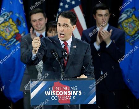 Stock Photo of Wisconsin Republican Gov. Scott Walker speaks at his campaign party, in West Allis, Wis. Walker defeated Democratic gubernatorial challenger Mary Burke