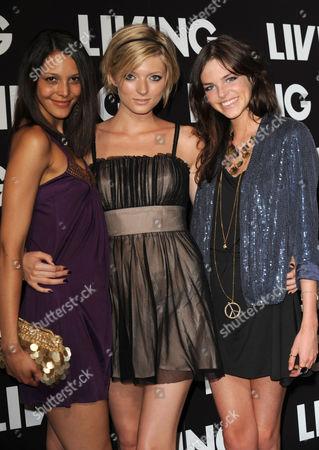 Stock Photo of Britain's Next Top Model stars - Misha Simson, Sophie Sumner and Jade McSorley