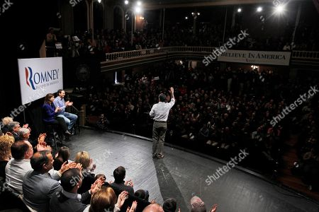 Mitt Romney, Kelly Ayotte, Tim Pawlenty. Republican presidential candidate, former Massachusetts Gov. Mitt Romney, campaigns at the Rochester Opera House in Rochester, N.H., . Also seated on stage are former Minnesota Gov. Tim Pawlenty, left, and Sen. Kelly Ayotte, R-N.H. second left