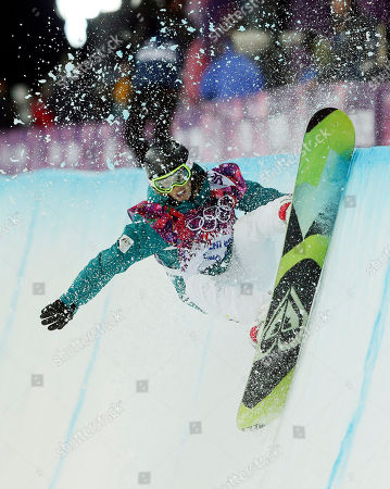 Australia's Torah Bright competes during the women's snowboard halfpipe final at the Rosa Khutor Extreme Park, at the 2014 Winter Olympics, in Krasnaya Polyana, Russia