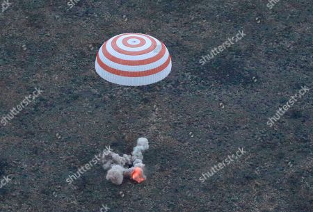 The Russian Soyuz TMA-16M capsule carrying a crew of Russia's Gennady Padalka, Andreas Mogensen of the European Space Agency and Kazakhstan's Aidyn Aimbetov lands some 146 kilometers (90 miles) southeast of town of Dzhezkazgan, Kazakhstan, early . Padalka has completed his fifth mission for the world's record 879 cumulative days in space, more than two months longer than the previous record holder, Russian cosmonaut Sergei Krikalev