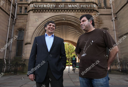 "Professor Andre Geim, left, and Dr Konstantin Novoselov who have have been awarded the Nobel Prize for Physics are seen outside Manchester University, Manchester, England, Tuesday, Oct, 5, 2010. The scientists shared the Nobel Prize in physics on Tuesday for ""groundbreaking experiments"" with the thinnest, strongest material known to mankind a carbon vital for the creation of faster computers and transparent touch screens"