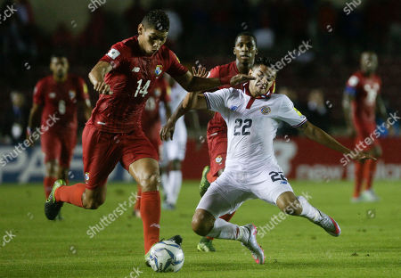 Valentin Pimentel, Ronald Matarrita. Panama's Valentin Pimentel, left, and Costa Rica's Ronald Matarrita, right, fight for the ball during a 2018 World Cup qualifying soccer match in in Panama City