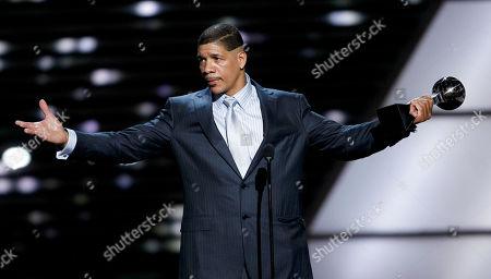 Dewey Bozella accepts the Arthur Ashe Award for Courage at the ESPY Awards, in Los Angeles