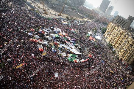 Egyptians celebrate the victory of Mohammed Morsi in the presidential election in Tahrir square, Cairo, Egypt, . Mohammed Morsi was declared Egypt's first Islamist president on Sunday after the freest elections in the country's history, narrowly defeating Hosni Mubarak's last Prime Minister Ahmed Shafiq in a race that raised political tensions in Egypt to a fever pitch