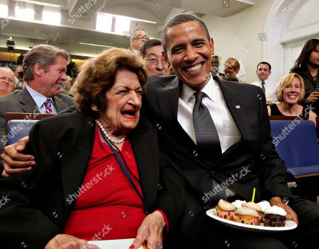 Helen Thomas, Barack Obama. President Barack Obama, marking his 48th birthday, takes a break from his official duties to bring birthday greetings to veteran White House reporter Helen Thomas, left, who shares the same birthday and turns 89, in the White House Press Briefing Room in Washington. Helen Thomas has covered every president since John F. Kennedy