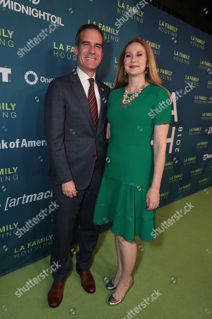 Stock Photo of Mayor of Los Angeles, Eric Garcetti and Amy Wakeland