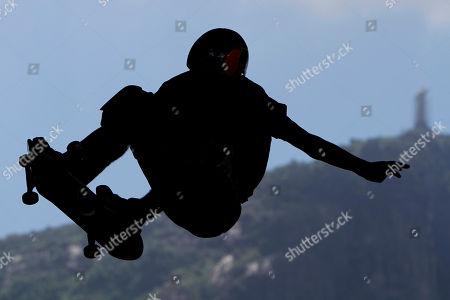 Pedro Barros, 14, competes during the Oi Vert Jam, a vertical international skateboard competition in Rio de Janeiro