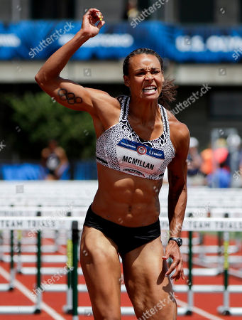 Stock Photo of Chantae McMillan wins her heat during the heptathlon 100-meter hurdles at the U.S. Olympic Track and Field Trials, in Eugene Ore