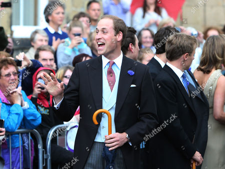 Britain's Prince William leaves after attending the wedding of the Duke and Duchess of Northumberland's daughter Lady Melissa Percy to chartered surveyor Thomas van Straubenzee at St Michael's Church in Alnwick, England