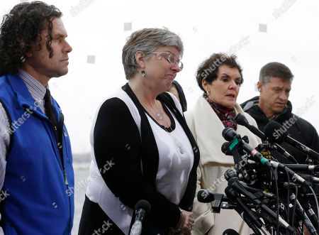 Boston Marathon bombing survivor Karen Brassard, second from left, speaks alongside Carlos Arredondo, left, Laurie Scher, second from right, and Mike Ward, outside federal court in Boston. Dzhokhar Tsarnaev was convicted on all charges Wednesday in the Boston Marathon bombing by a jury that will now decide whether the 21-year-old should be executed or shown mercy for what his lawyer says was a crime masterminded by his big brother