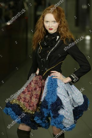 Lily Cole Wearing A Creation Designed By Robert Cary-williams At Their Autumn Winter 2006 Collection At The Royal Academy Of Arts London During London Fashion Week.