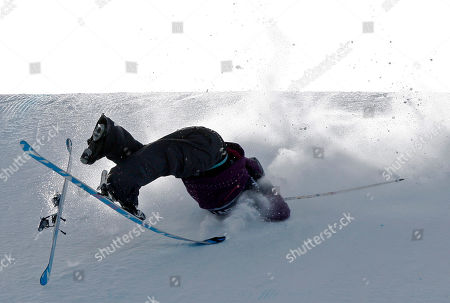 Sarah Burke, of Canada, crashes on her final jump, failing to place among the top three finishers, during the slopestyle skiing women's final at the Winter X Games at Buttermilk Mountain outside Aspen, Colo., on