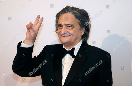 """French actor Jean-Pierre Leaud flash the V sign before the French premiere of """"Isle of Dogs"""" in Paris, France"""