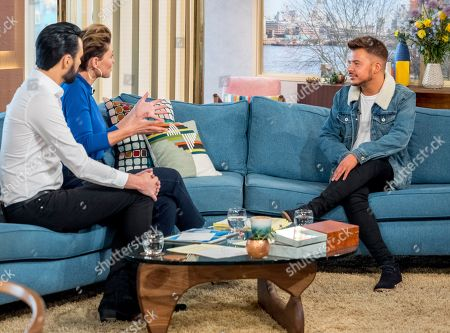 Stock Picture of Rylan Clark and Emma Willis with Ryan Ruckledge