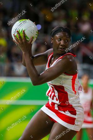 Stock Image of Kadeen Corbin (ENG) plays a shot as Malawi play England in the Women Pool B