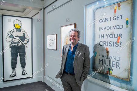 Mark Hix, Guest-curater, chef, restaurateur and food writer, with Banksy, Smiling Copper, est £30-40,000 and Harland Miller, CAN I GET INVOLVED IN YOUR CRISIS-, est £15,000 - 20,000
