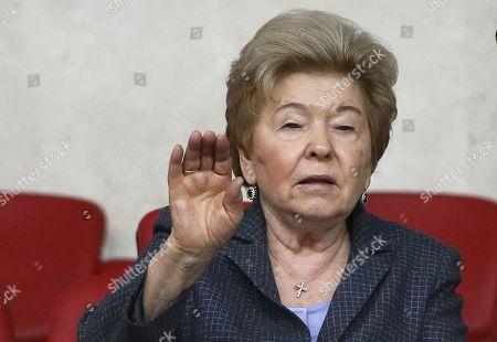 Naina Yeltsina, widow of former Russian President Boris Yeltsin, attends the Davis Cup Europe/Africa Group I match between Russia and Austria at Luzhniki Small Sports Arena in Moscow, Russia, 06 April 2018