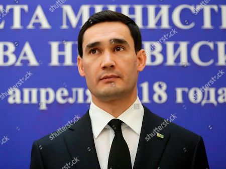A son of Turkmenistan President Gurbanguly Berdimuhamedov, Turkmenistan Foreign Minister Serdar Berdymukhamedov looks on during Commonwealth of Independent States (CIS) countries council of heads of Foreign Affairs Ministers in Minsk, Belarus