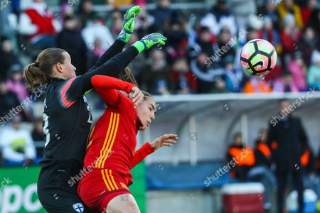 Finland's goalkeeper Tinja-Riikka Korpela (L) in action against Spain's midfielder Patricia Guijarro (R) during the FIFA Women's World Cup Qualifying round - Group 7 match between Finland and Spain played at Helsinki Football Stadium, in Helsinki, Finland, 06 April 2018.